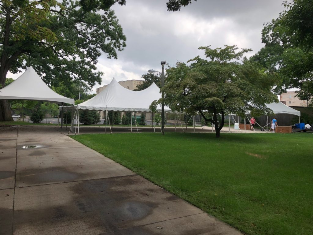 Left: 20 x 20 White Frame Tent Middle: 30 x 60 White Tension Tent Right: 20 x 30 White Frame Tent
