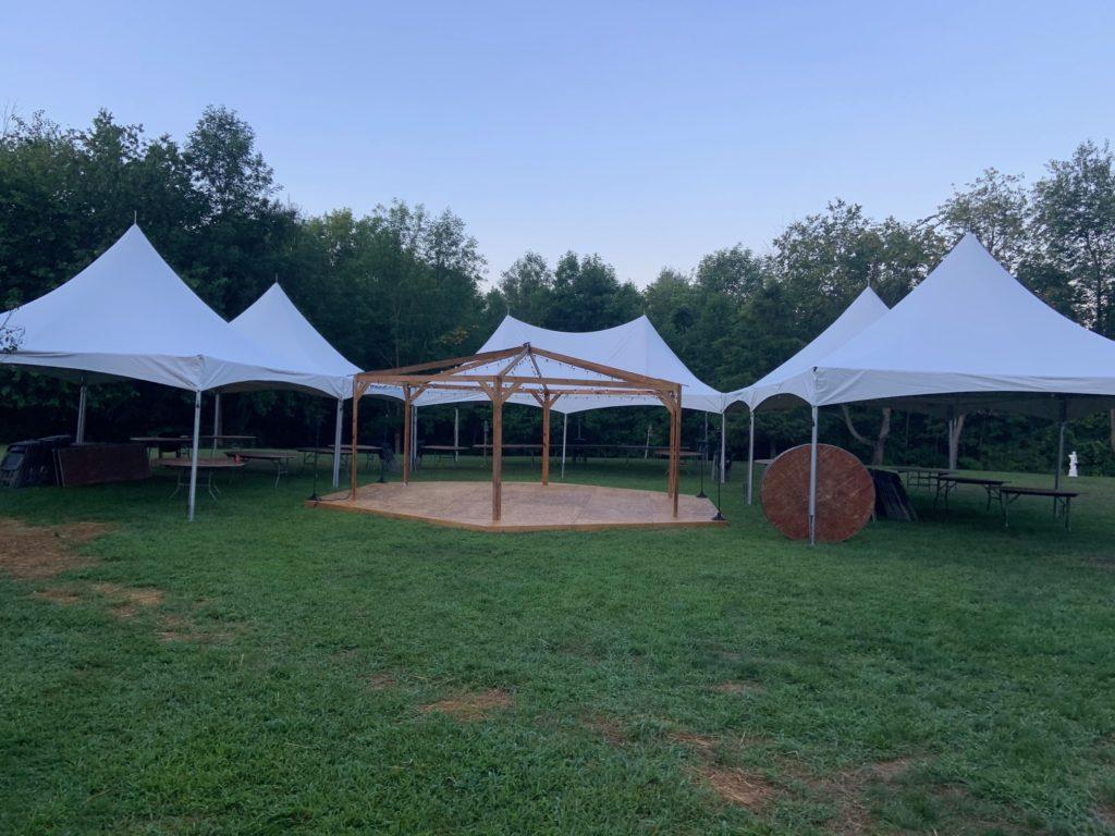 Left: 20 x 40 White Frame Tent Middle: 20 x 30 White Frame Tent Right: 20 x 40 White Frame Tent
