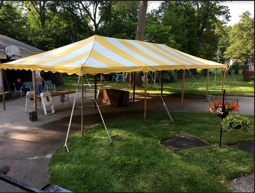 20 x 40 Yellow and White Striped Tension Tent
