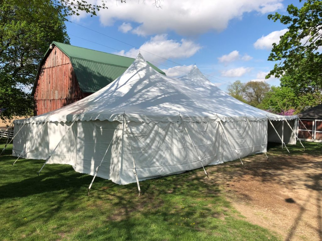 40 x 60 White Tension Tent with solid white side walls