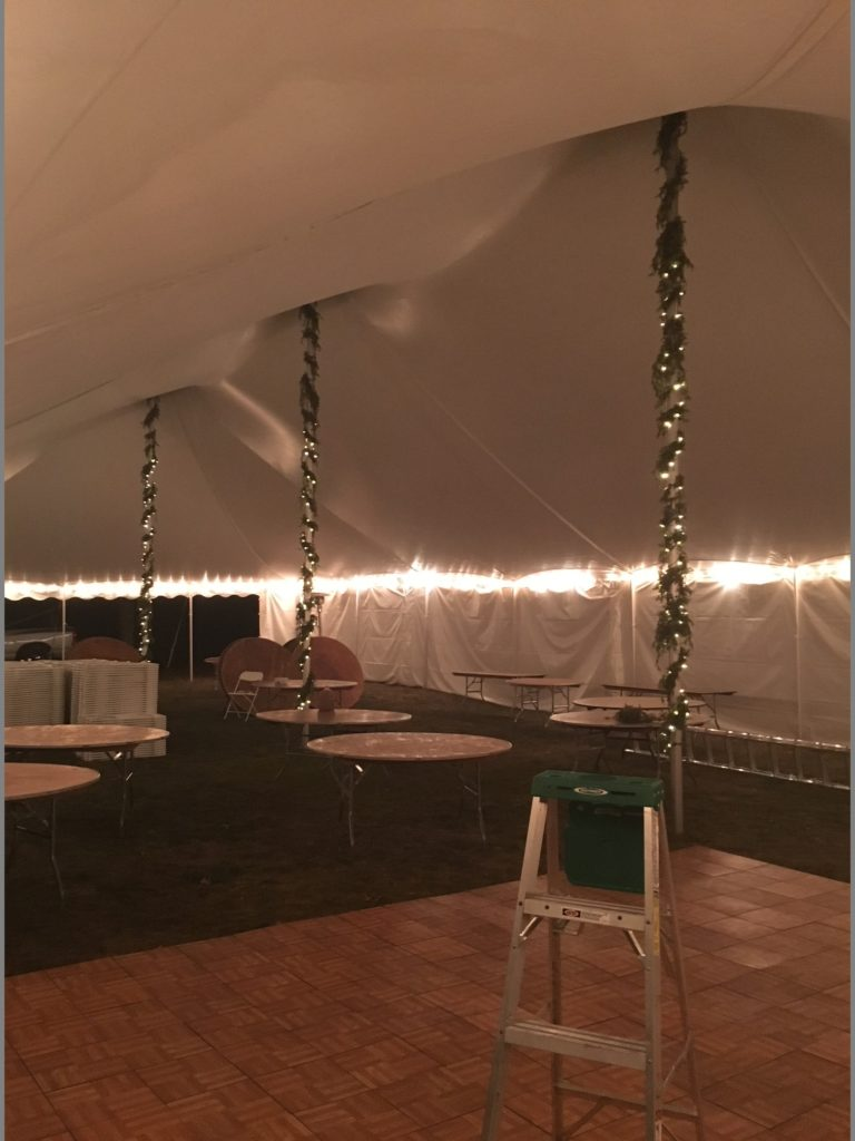 Dance floor inside a 40 x 80 White Tension Tent